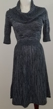 BCBG Max Azria Knit Dress Size SMALL Gray Black Cowl Neckline Knee-Length - $17.75