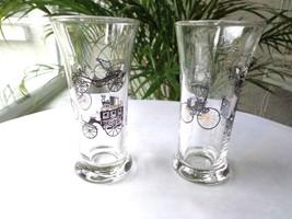Set of 2 Libbey 1950's Horseless Carriage Liquor Glasses Black/Gold - $17.81