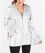 Ideology Tie-Dyed Bell Sleeve Full Zip Hoodie, Grey Whisper, M - $28.35