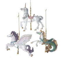 "Kurt Adler 4.75"" Hand Painted Resin Carousel Animal Christmas Ornament Set C7617 - $48.88"