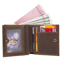 Men Crazy Horse Leather RFID ID Purse Wallet Button Coin Checkbook Small... - $16.50