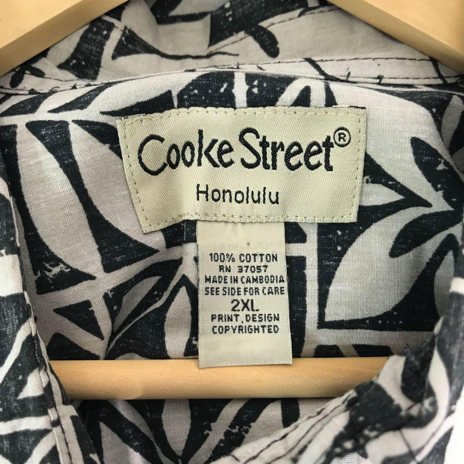 Cooke Street 2XL Black Hawaiian Ivory Palms Leaves Hibiscus Aloha Shirt