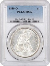 1859-O $1 PCGS MS62 - Blazing White! - Liberty Seated Dollar - Blazing W... - $2,774.20
