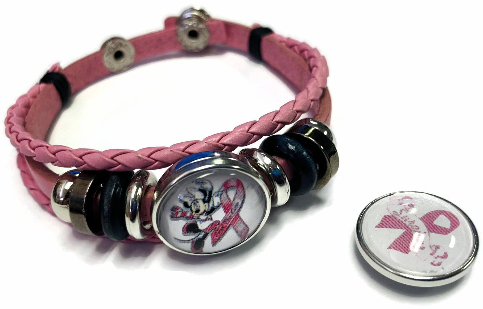 Minnie Mouse Breast Cancer Snaps & Pink Leather Bracelet W/2 Snap Jewelry Charms