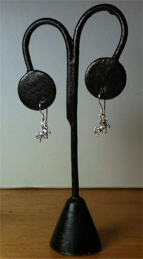 PETITE Unicorn Dangle Drop Earrings .925 Sterling Silver NOT Plated Handmade