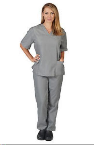 Scrub Set Grey V Neck Top Drawstring Pants 3XL Unisex Medical Natural Uniforms image 1