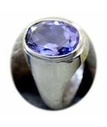 Natural Amethyst Silver Ring 3 Carat Stone Handmade Size K,L,M,N,O,P,Q,R... - $37.29