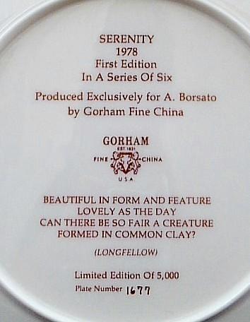 Gorham China 1978 Serenity Plate Antonio Borsato