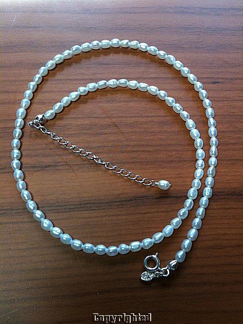 White Pearl Strand Necklace Adjustable .925 Sterling Silver Spring Ring Clasp