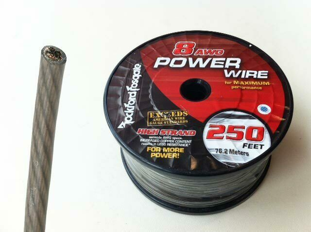 Rockford Fosgate RFW8B 50' length 8 Gauge OFC Frosted BLACK  Power/Ground Wire