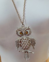 Vtg White Enamel Owl Pendant Necklace W/Greenish/Yellow Eyes - $34.65