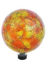 "Russco III GD137166 Glass Gazing Ball, 10"", Orange Mosaic Crackle - $41.39"