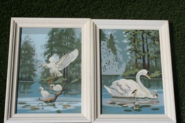 Vtg CRAFTMASTER KIT PAINT BY NUMBERS 1966 QUIET LAGOON Snowy Egret Swans... - $64.34