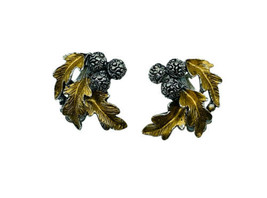 Vintage Retro Acorn Oak Leaf Cluster Silver Gold Tone Clip On Costume Ea... - $44.99