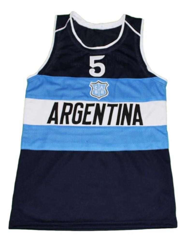 Manu Ginobili #5 Argentina New Men Basketball Jersey Navy Blue Any Size