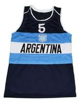 Manu Ginobili #5 Argentina New Men Basketball Jersey Navy Blue Any Size image 1