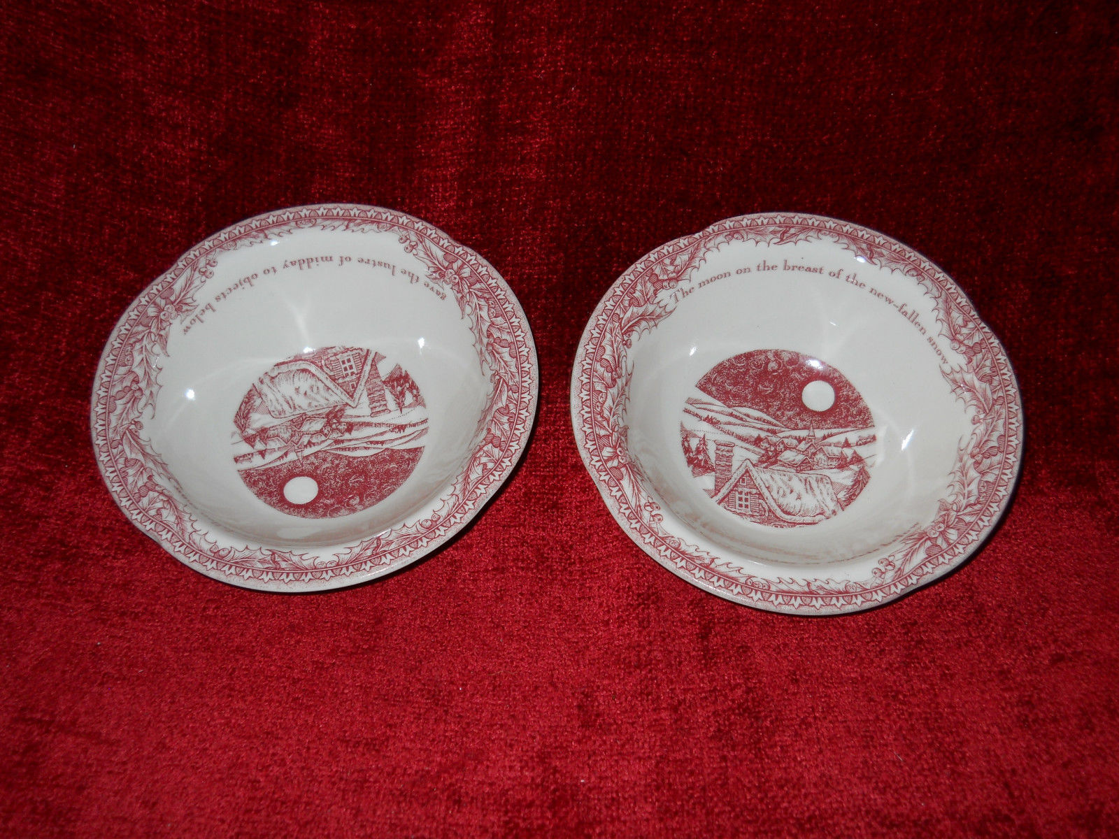 Primary image for Johnson Brother Twas the Night Before Christmas  set of 2 cereal bowls 6 1/8""