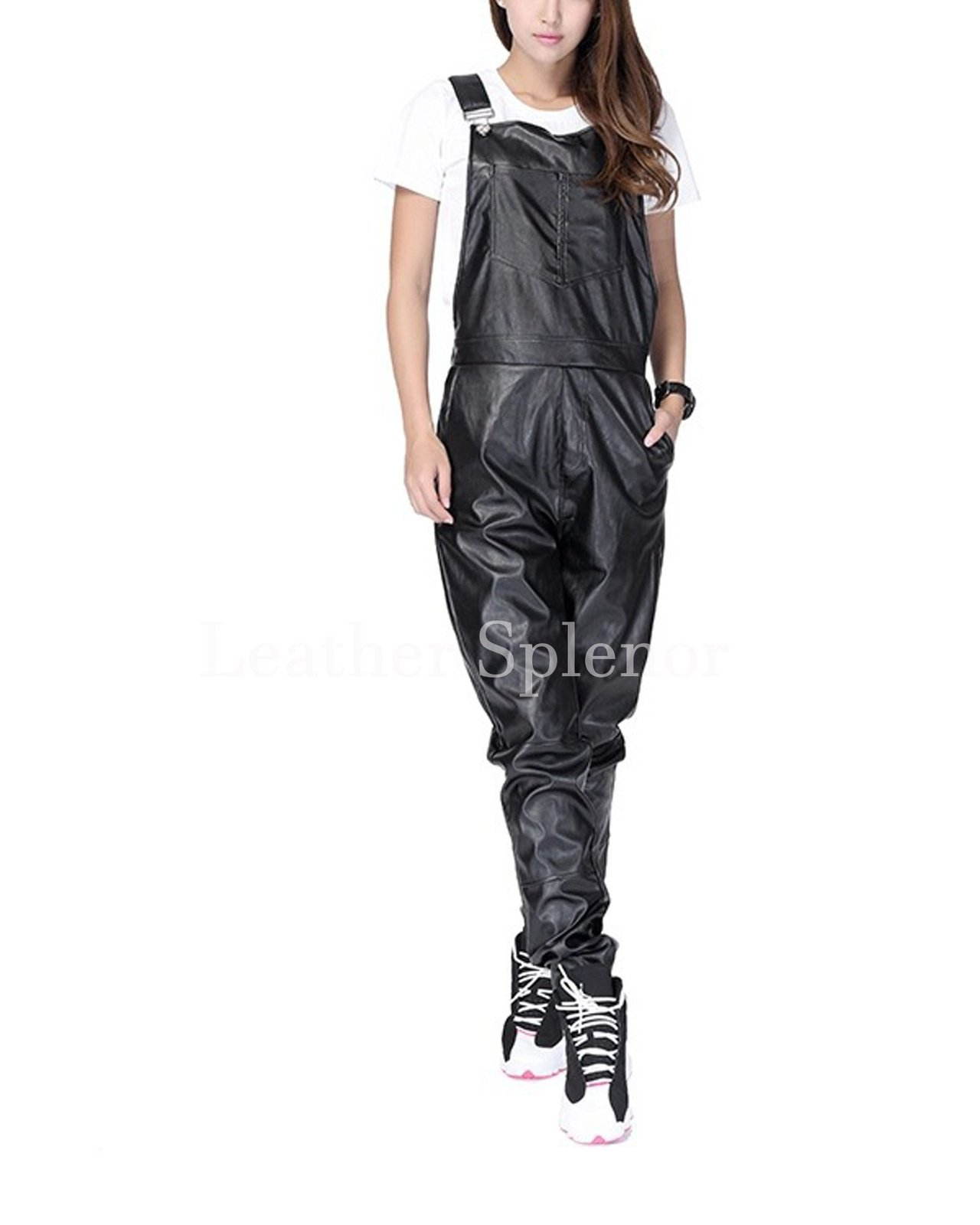 Dungaree Style Women Leather Jumpsuit