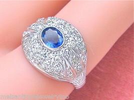 VINTAGE .60ctw PAVE DIAMOND .60ct OVAL BLUE SAPPHIRE PLATINUM COCKTAIL R... - $1,771.11