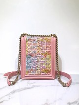 NEW AUTH CHANEL 2019 PINK TWEED LAMBSKIN NORTH SOUTH BOY FLAP BAG RECEIPT image 4