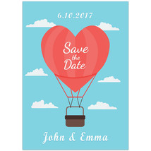 Hot Air Balloon Heart Save The Date Wedding Invitations - $25.25