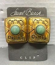 Vintage Laurel Burch Gold Tone Cat Faux Jade Cabochon Clip Ons Square - $39.95