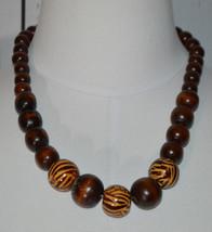 Brown Wooden Cascading Zebra Bead Silver Tone Choker Necklace Vintage - $24.74