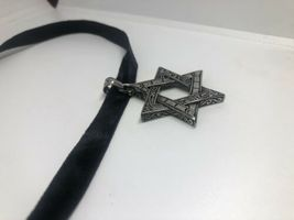 Vintage Deco Star Of David Pendant Choker Necklace Stainless Steel image 6