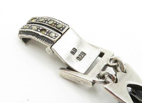 925 Sterling Silver - Vintage Black Onyx & Marcasite Chain Bracelet - B6135 image 4