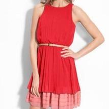 JESSICA SIMPSON Sleeveless Pleated Dress Tier Ruffle Belt Red Pink Women... - $18.80
