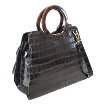 Women's Embossed Faux Crocodile Pattern Handbag Vegan Textured Leather Purse image 3