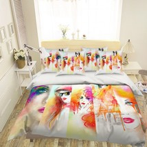 3D Girl Face Paint 206 Bed Pillowcases Quilt Duvet Single Queen King US Summer - $102.84+
