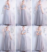 DUSTY BLUE Bridesmaid Dress 2019 Summer Chiffon Dusty Blue Bridesmaid Maxi Dress image 10