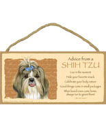"Advice from a Shih Tzu with bow Lives Here Sign Plaque Dog 10"" x 5"" sign - $10.95"
