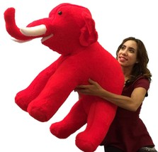 American Made Large Stuffed Red Elephant 36 Inches Big Plush Animal Made... - $147.11