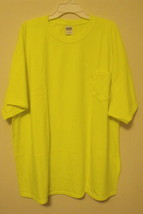 Mens Gildan NWOT Safety Yellow Short Sleeve Pocket T Shirt Size 3XL - £6.50 GBP