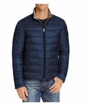 Herno Mens Reversible Flannel Nylon Quilted Down Jacket Blue/Gray $730 - $299.99