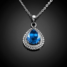 """Sterling Silver Created Blue and White Sapphire Drop Pendant Necklace 18"""" - $12.73"""