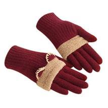 Winter Fashion Gloves/Knitted Woolen Gloves for Girls/Cute Cartoon Gloves/RED