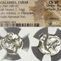 HERAKLES strangling Nemean Lion, ATHENA. NGC Choice VF Ancient Greek Sil... - $535.50