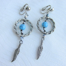 Vintage Faux Turquoise Dream Catcher Earrings Clip Silvertone Rope Ring ... - $9.45