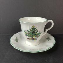 Vintage Nikko Happy Holidays Tea Cup and Saucer Christmas Tree Blue Back... - $14.99