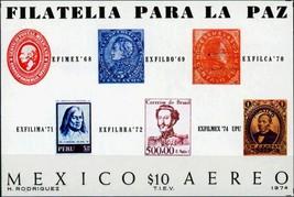 1974 Exfilmex 74 Mexico Airmail Souvenir Sheet Catalog Number C434 MNH