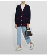 Sandro Flag Embroidered Navy Cardigan Pearl buttons New - $275.00