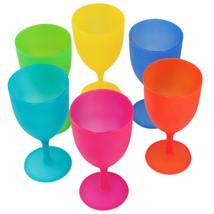 Colorful Reusable Plastic Picnic Goblets Wine Glasses Set Assorted Color... - $7.84