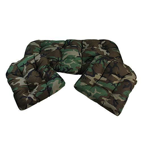 3-Piece Tufted Wicker Furniture Patio Cushion Set - Woodland Terrace Camo
