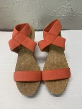 LUCKY BRAND MAXYNE ORANGE STRAPPY high heel wedge Sandal ANKLE STRAP Size 8 - $23.33