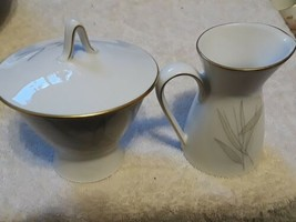Rosenthal Sugar Bowl and Creamer modern subdued floral on white with gil... - $13.00