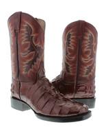 Mens Burgundy Crocodile Alligator Tail Leather Design Square Toe Cowboy ... - £81.02 GBP