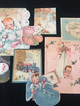 Set of 9 Vintage 40s illustrated Birth/Baby card art (Set A) image 3